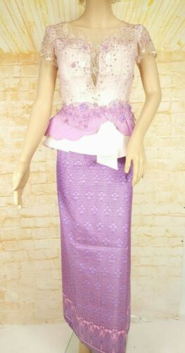Cambodia Khmer Traditional Out fit Women Size S Lavender Formal Lace Hol Silk