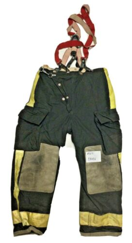 38x32 Globe Black Firefighter Turnout Pants with Yellow Tape & Suspenders P1271