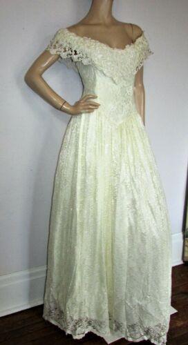 NOS Vtg Jessica McClintock White Lace off the Shoulder Wedding Brides Dress 12