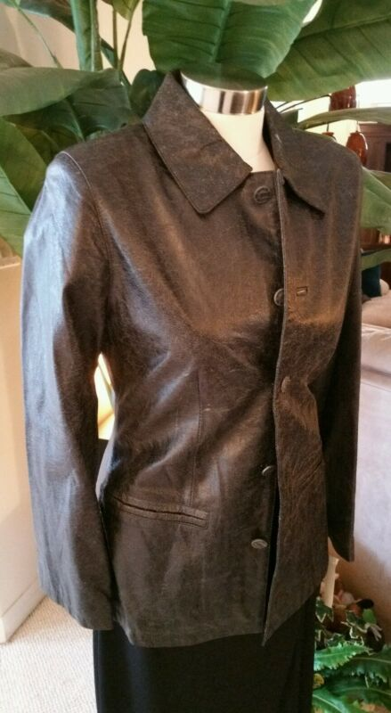 MARITHE FRANCOIS GIRBAUD Leather Distressed Black Womens Jacket RARE NEW S