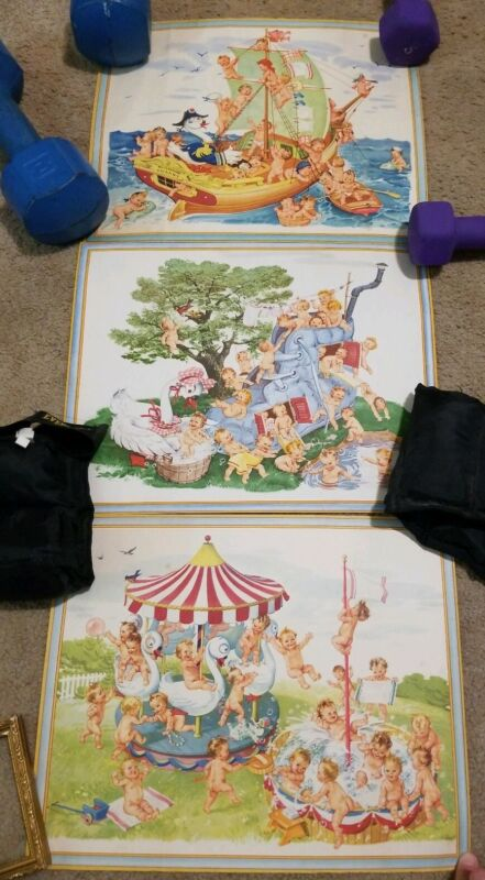 "! Set Of 3 Antique Vintage Baby Nursery Prints Artwork 12""× 15"""