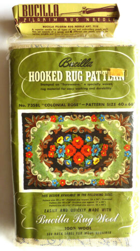 "Vintage Bucilla Hooked Rug Pattern Colonial Rose #7658L  40"" x 66"" w/ Rug Needle"