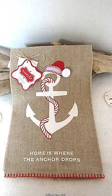 Santa ANCHOR Linen Hand Towel (1) Coastal Christmas Bath Nautical Mud Pie