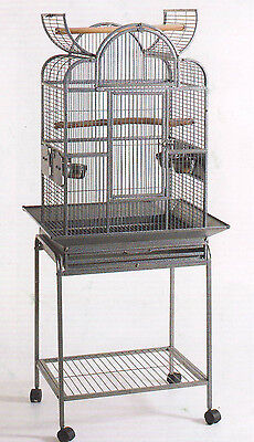 "63"" Open Dome Play Top Wrought Iron Bird Small Parrot Cage Removable Stand -121"