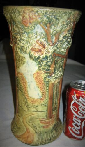 "ANTIQUE 10 + "" WELLER FOREST TREE WOODCRAFT AMERICAN ART POTTERY FLOWER URN VASE"