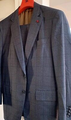 NWT ISAIA Brown-Gray Check 'Travel' Wool Suit 54/ 44 Slim Fit Gregory