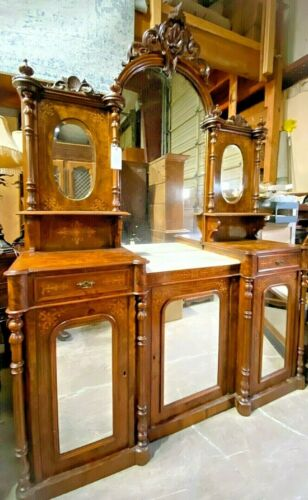 *RARE* Antique 19th C. English, Carved, Inlaid Sideboard Double Vanity Cabinet