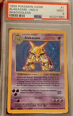 1999 Shadowless Alakazam Holo 1/102, PSA 9 Mint Pokemon Base Set.