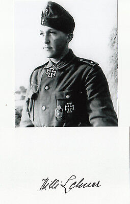 German Knights Cross Willi Lehner signed CARD