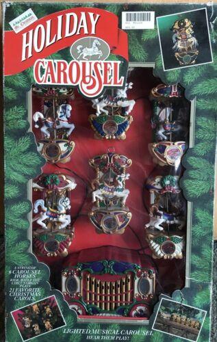 1992 Mr. Christmas Holiday Carousel Lighted Musical 6 Horses 21 Carols Lights