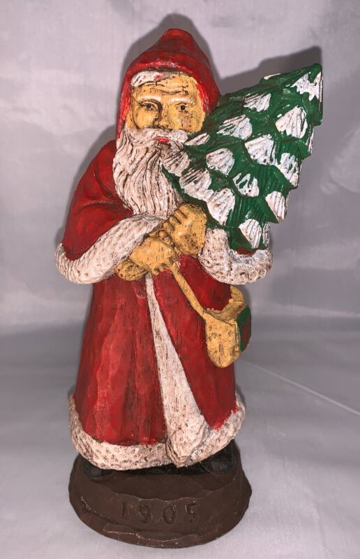 """Vintage 1905 Father Christmas of Great Britain Santa Carved Resin Figure 8.5"""""""