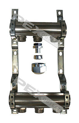 Radiant Floor Heat Manifold Chrome W Pex Adapters For Pex Pipe 3 Outlet