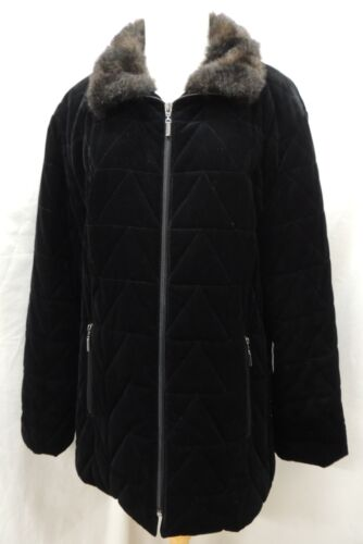Gallery Black Velvet Quilted Coat with Faux Fur Collar Size M
