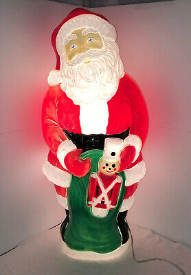 """Rare Grand Venture 39"""" Santa w/ Toy Soldier in Green Gift Bag Lighted Blow Mold"""