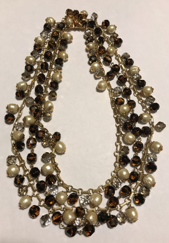 """Vintage VENDOME Faux Pearl & Brown Bead Three Strand Necklace 17"""""""