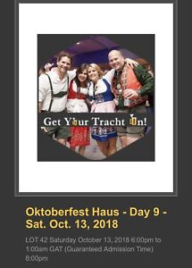 2 Octoberfest Tickets Kitchener October 13
