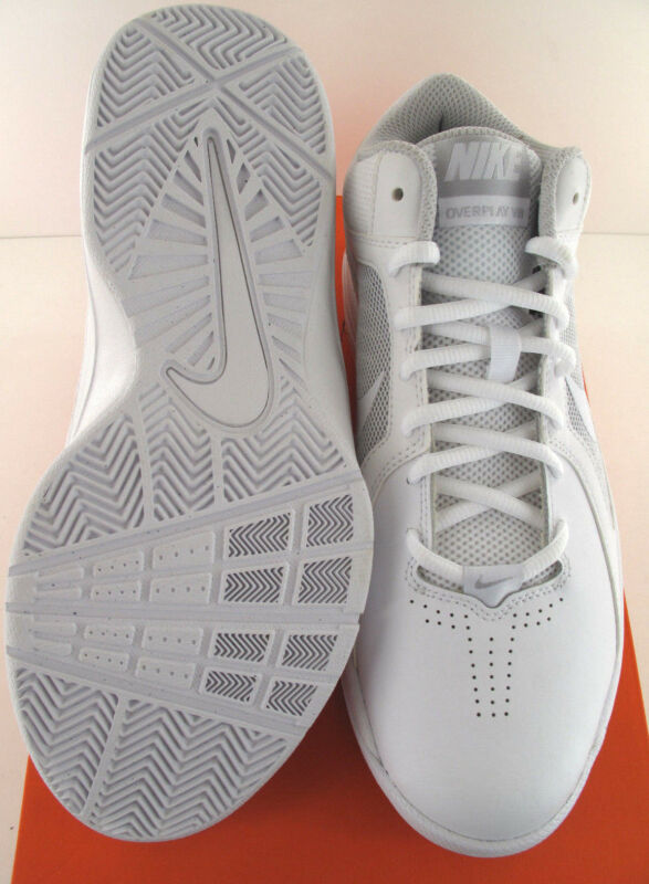 premium selection 530a6 23ef6 ... Nike The Overplay VIII Mens White Leather Basketball Shoes - NWD -  Medium
