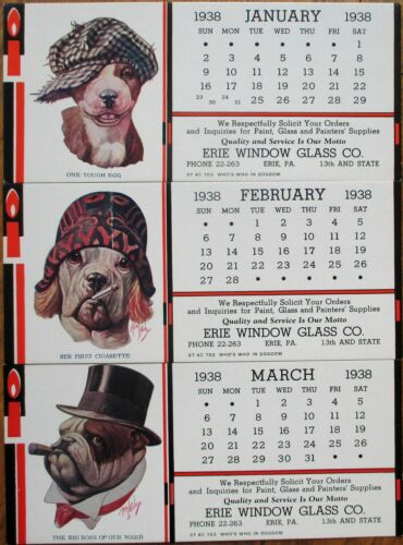 Robert L. Dickey/Artist-Signed 1938 SET OF TWELVE Dressed Dog Calendar Blotters