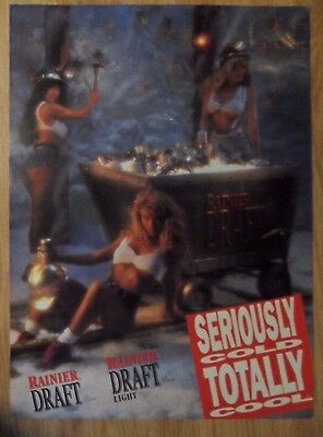 Sexy Girl Beer Poster RAINIER DRAFT ~ Trio Seriously Cold Gold Miners w Minecart