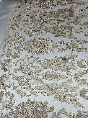 Modern Lace Damask (Beige Hollywood Damask 2 Way Stretch Modern Lace Fabric Sold By The Yard )