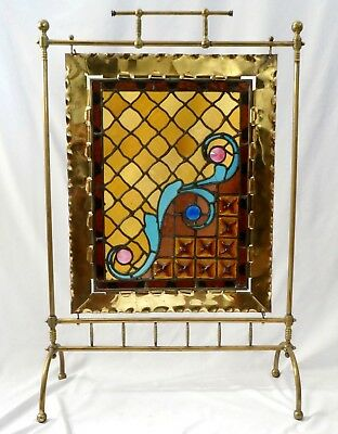 Antique BRASS + LEADED GLASS Fire Screen. Sapphire + Rose Jeweled. 37