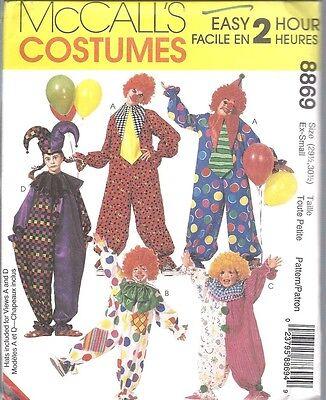 6719 8869 Uncut Mccalls Nähmuster Clown Halloween Kostüme Jester Kind Erwachsene