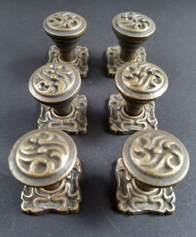 "6 Ornate Art Nouveau Ornate Brass Knobs, Pulls hardware w. 1"" back plate #K5"