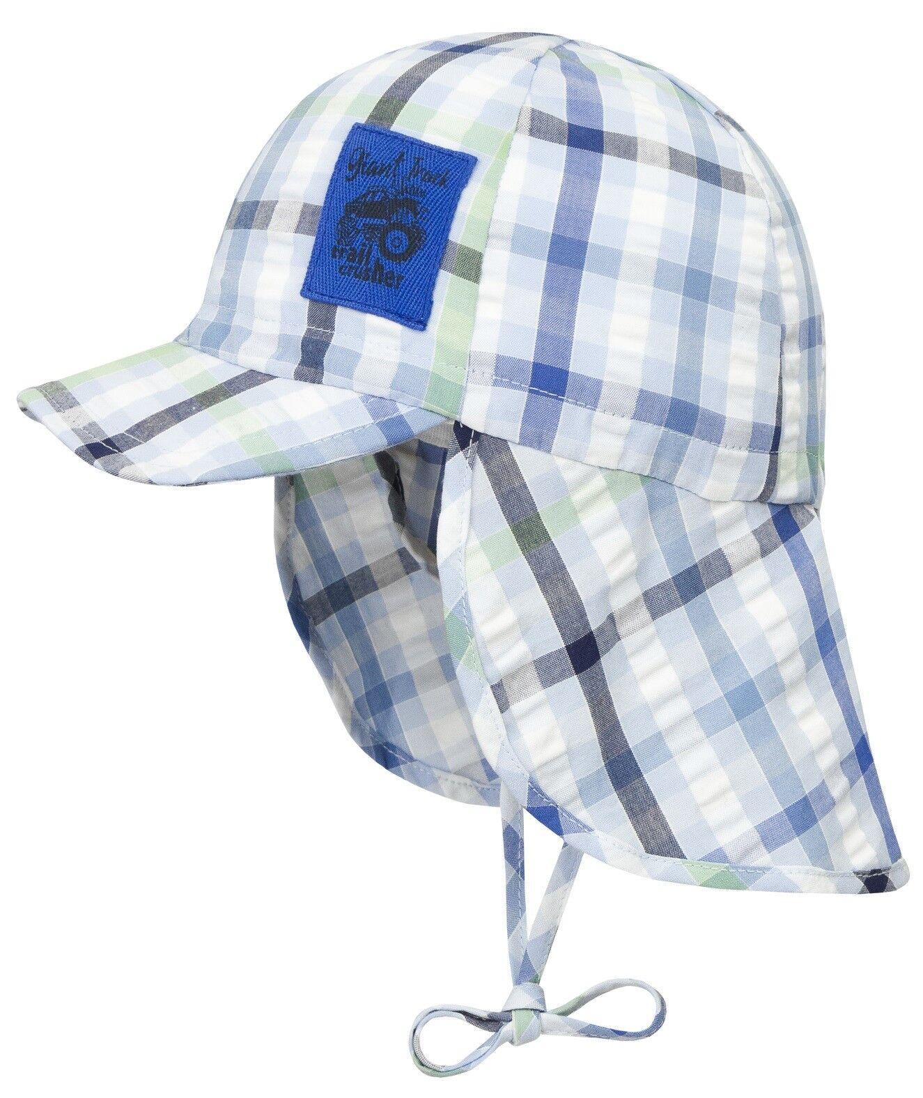 DÖLL® Jungen Sonnenhut Hut Schirm Nackenschutz Mütze Karo 47-55 Sommer 2018 NEU
