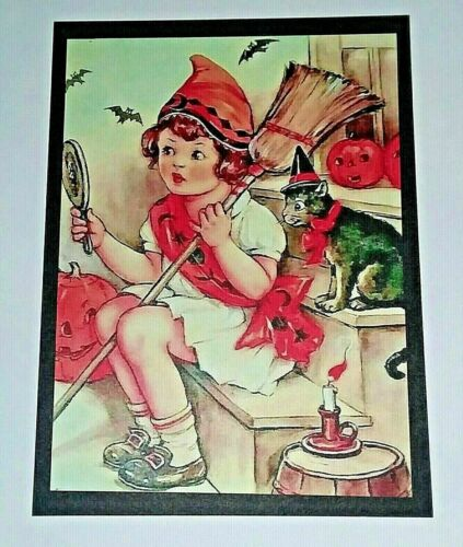 *UNUSED* Halloween Postcard: Little Witch On Steps Vintage Image~Reproduction