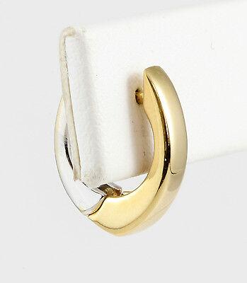 14k Modern Style Gold Earrings (14k Two-Tone Gold Modern U Shaped Huggie Style Earrings Hoops White & Yellow )