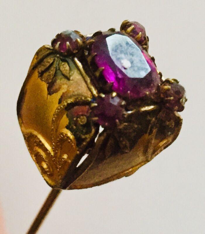 Vintage Antique Victorian Gold Filled Amethyst Ornate Filigree Hat Pin