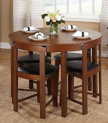 Dining Room Set 5pc Round Table Walnut Black Chairs Small Dinette Kitchen Decor ()