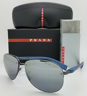 New Prada sunglasses PS56MS DG12F2 62mm Silver Mirror Gradient Polarized (Prada Polarized Aviator Sunglasses)