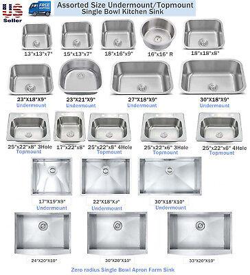 (New Topmount / Undermount Stainless Steel Single Bowl Kitchen Sink Assorted Size)