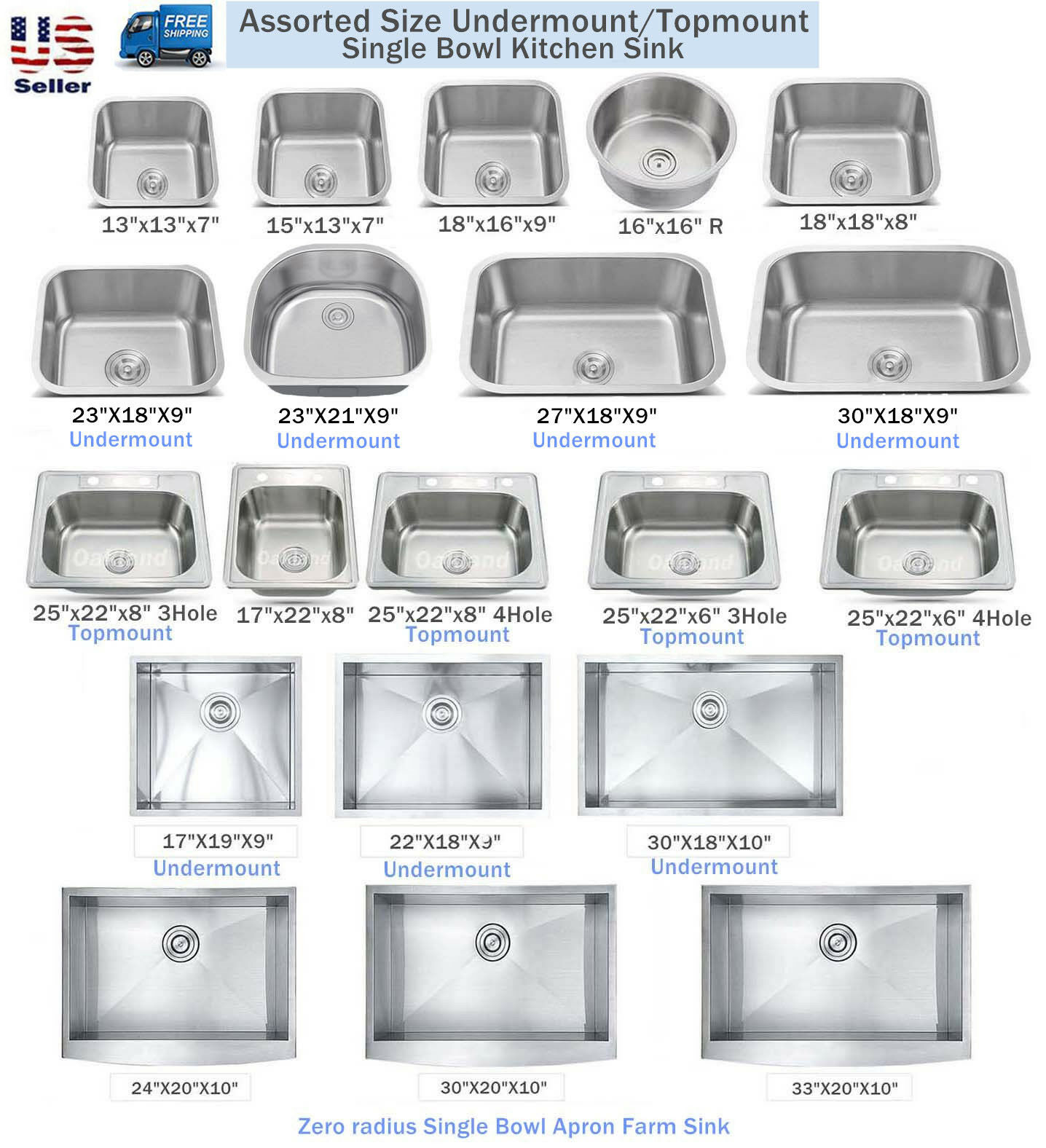 New Topmount / Undermount Stainless Steel Single Bowl Kitche