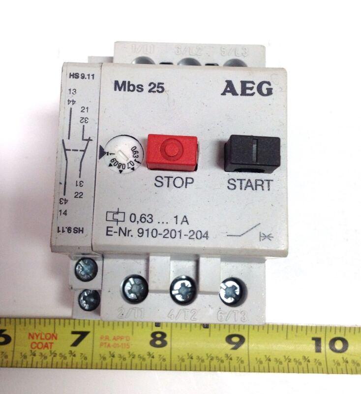 AEG MBS 25 0.63-1A MOTOR STARTER 910-201-204