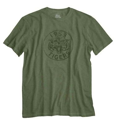 J Crew - Mens XL - Vintage-Inspired Olive Green 1953 Tiger Graphic Cotton Tee
