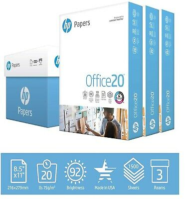 Hp Printer Paper Office 20lb 8.5x 11 3 Ream Case 1500 Sheets Made In Usa Free