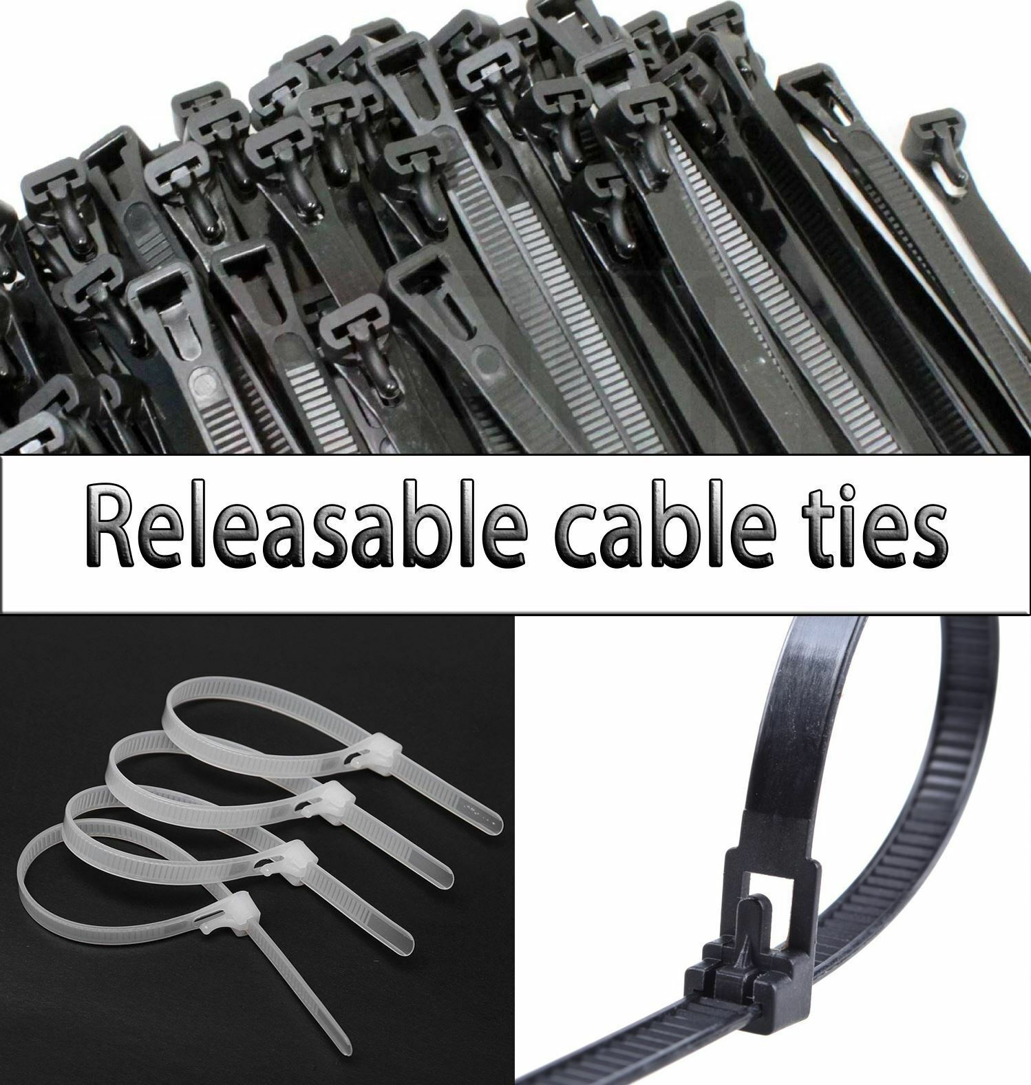 Wraps Tidy Large Black ZIP TIE Quality Nylon Straps STRONG RELEASABLE CABLE