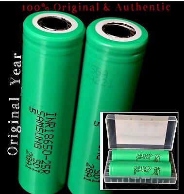 2 SAMSUNG 18650 25R 2500mAh 35A HIGH DRAIN Rechargeable Battery Vape Mods