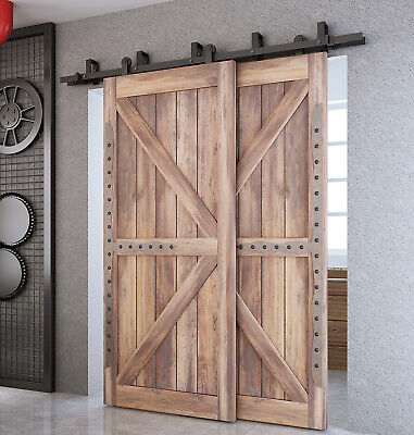 DIYHD Top Mount Bypass Double Sliding Barn Door Track Hardware for Low -