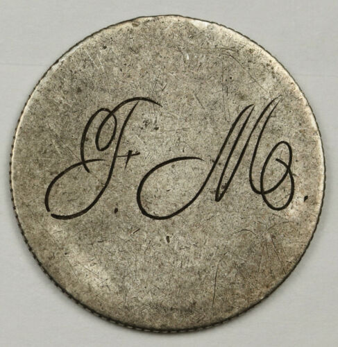 "1883 Liberty Seated Dime.  Love Token.  ""F.M.""  X.F.  136371"
