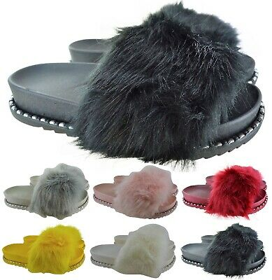WOMENS LADIES FLATORM FLAT SUMMER FAUX FLUFFY FUR SLIDES SLIDERS SANDALS SLIPPER