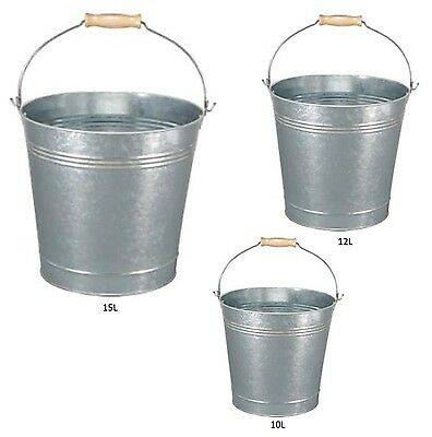 TRADITIONAL GALVANISED STRONG STEEL METAL SMALL LARGE BUCKET WITH WOODEN HANDLE - Large Metal Bucket
