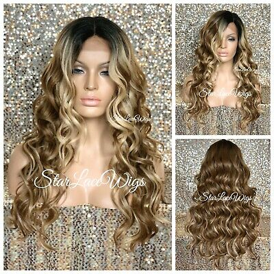 Dirty Blond Wig (Lace Front Wig Dirty Blonde Highlights Human Hair Blend Brown Curly Dark)