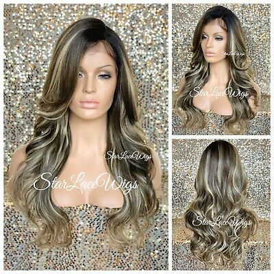 Dirty Blond Wig (Lace Front Wig Curly Dirty Blonde Highlights Layers Bangs Dark Roots Heat)