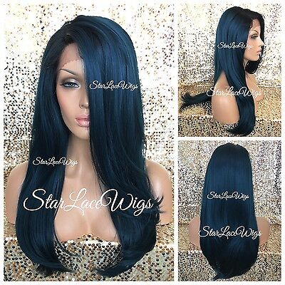 Lace Front Wig Human Hair Blend Teal Light Yaki Black Roots Long 13x4 Parting  - Teal Wig