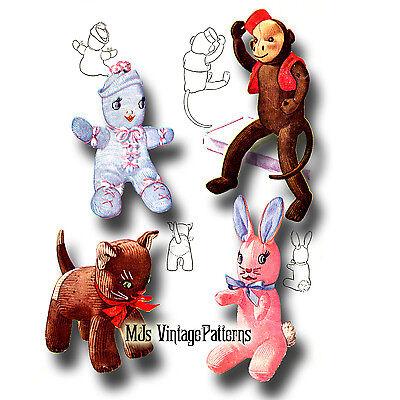 Monkey Cat (Vintage Pattern ~ Monkey, Cat, Bunny & Doll Stuffed)