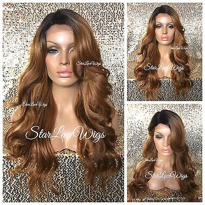 Full Wig Strawberry Blonde Dark Roots Bangs Loose Curls Layers Long Heat Safe (Strawberry Blonde Wig)