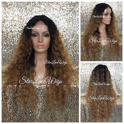 Lace Front Wig Human Hair Blend Deep Wave #27 Dark Root #1 Long Wavy Heat